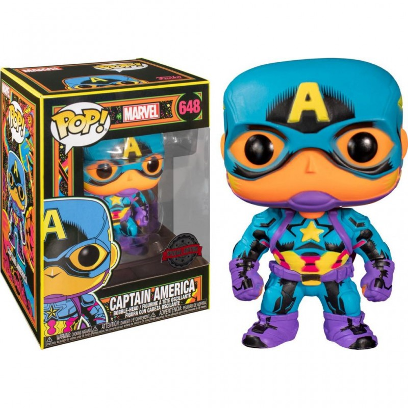 Figurine Pop Captain America Black Light Exclusive (Marvel)